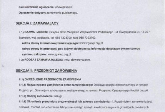 Ogłoszenie O Zamówieniu Publicznym Numer: 189981-2013; Data Zamieszczenia 18.09.2013