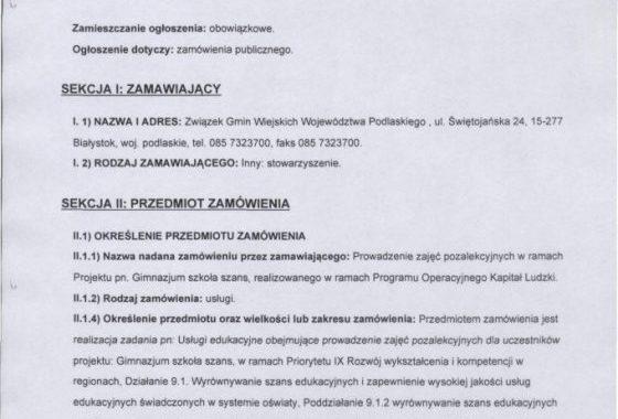Ogłoszenie O Zamówieniu Publicznym Numer: 1218261-2013; Data Zamieszczenia 18.10.2013
